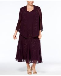 R & M Richards - Plus Size Beaded V-neck Dress And Jacket - Lyst