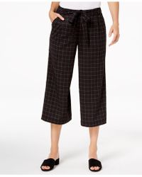 Maison Jules - Checked Wide-leg Cropped Pants, Created For Macy's - Lyst