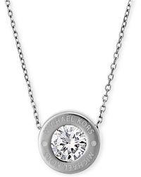 """Michael Kors - 16"""" Bezel Set Crystal Logo Pendant Necklace - Lyst"""