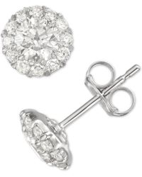 Macy's - Diamond Cluster Stud Earrings (1 Ct. T.w.) In 14k White Gold - Lyst