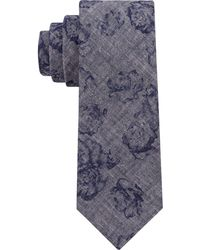DKNY - Denim Floral Slim Tie - Lyst