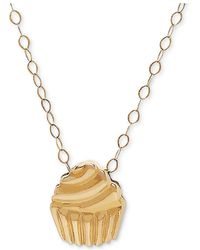 """Macy's - Tiny Cupcake 17"""" Pendant Necklace In 10k Gold - Lyst"""