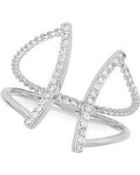 Touch Of Silver - Pavé Abstract Ring In Silver-plate - Lyst