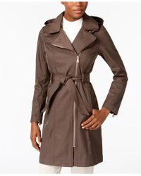 Vince Camuto - Asymmetrical Belted Hooded Raincoat - Lyst