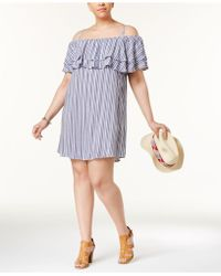 Almost Famous | Trendy Plus Size Off-the-shoulder Ruffle Dress | Lyst