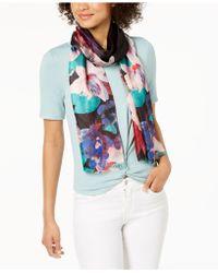 Calvin Klein - Painted Flower Silk Scarf - Lyst