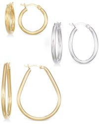 Macy's | Set Of Three Hoop Earrings In 14k Gold, White Gold And Rose Gold Vermeil | Lyst