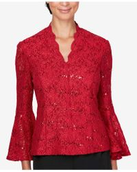 Alex Evenings - Embellished Lace Top - Lyst