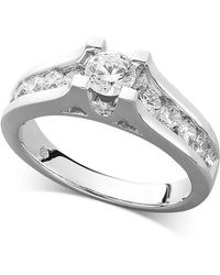 Macy's - Diamond Channel Engagement Ring In 14k White Gold (1 Ct. T.w.) - Lyst