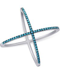 Macy's - Manufactured Turquoise X Ring In Sterling Silver - Lyst