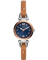 Fossil - Georgia Luggage Leather Strap Watch 26mm - Lyst