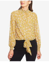 1.STATE - Wild Blooms Smocked Tie Front Top - Lyst