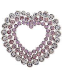 Anne Klein - Silver-tone Crystal Triple-row Heart Pin, Created For Macy's - Lyst