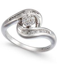Macy's | Diamond Swirl Cluster Promise Ring (1/4 Ct. T.w.) In Sterling Silver | Lyst
