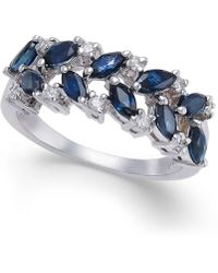 Macy's - Sapphire (1-1/3 Ct. T.w.) & Diamond (1/6 Ct. T.w.) Ring In 14k White Gold - Lyst