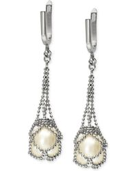 Effy Collection - Cultured Freshwater Pearl Cage Drop Earrings In Sterling Silver (10mm) - Lyst