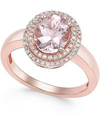 Macy's - Morganite (1-1/2 Ct. T.w.) And Diamond (1/5 Ct. T.w.) Ring In 14k Rose Gold - Lyst
