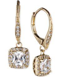 Anne Klein - Gold-tone Pavé Crystal Drop Earrings - Lyst