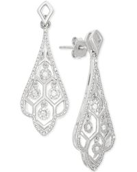 Macy's - Diamond Swirl Drop Earrings (1/10 Ct. T.w.) In Sterling Silver - Lyst