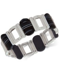 Nine West - Silver-tone Black Stone Stretch Bracelet - Lyst