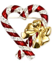 Charter Club - Two-tone Pavé Candy Canes Brooch - Lyst