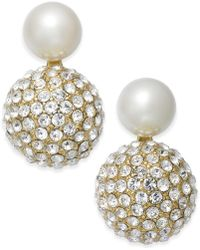 Kate Spade - Gold-tone Imitation Pearl And Fireball Drop Earrings - Lyst