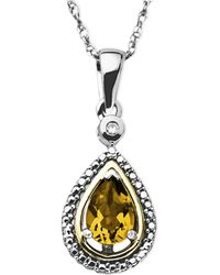 Macy's - 14k Gold And Sterling Silver Necklace, Citrine (5/8 Ct. T.w.) And Diamond Accent Teardrop Pendant - Lyst