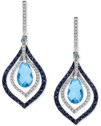 Effy Collection - Blue Topaz And Sapphire (4-5/8 Ct. T.w.) And Diamond (1/3 Ct. T.w.) Drop Earrings In 14k White Gold - Lyst