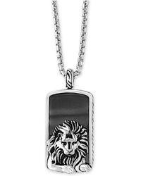 Effy Collection - Men's Hematite (36 X 20mm) Lion Dog Tag Pendant Necklace - Lyst