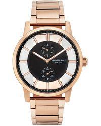 Kenneth Cole - Transparent Multifunction Rosegold Tone Bracelet Watch 44mm - Lyst