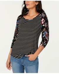 Style & Co. - Contrast-sleeve Striped Top, Created For Macy's - Lyst