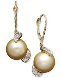 Macy's - 14k Gold Earrings, Cultured Golden South Sea Pearl (9mm) And Diamond (1/5 Ct. T.w.) Drop Earrings - Lyst