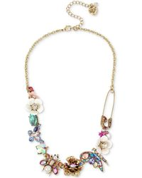 "Betsey Johnson - Gold-tone Stone & Bead Insect Collar Necklace, 15-1/2"" + 3"" Extender - Lyst"