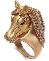 Kate Spade - Gold-tone Pavé & Chain Horse Ring - Lyst