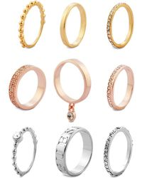 Guess - Tri-tone 9-pc. Set Crystal Stacker Rings - Lyst