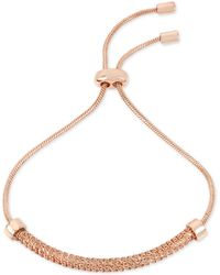 Kenneth Cole - Rose Gold-tone Textured Chain & Cubic Zirconia Slider Bracelet - Lyst
