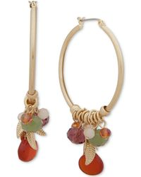 Lonna & Lilly - Gold-tone Leaf & Bead Shaky Hoop Earrings - Lyst