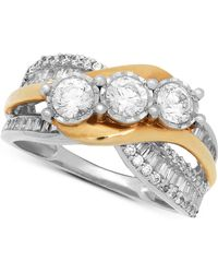 Macy's - Diamond Two-tone Overlap Ring (1-1/2 Ct. T.w.) In 14k Gold & White Gold - Lyst