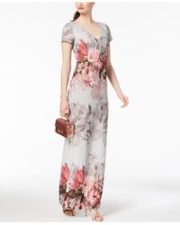 Adrianna Papell - Printed Matelassé Gown - Lyst