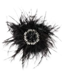 Carolee - Hematite-tone Feather & Crystal Pin - Lyst