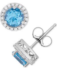 48c864c61 Macy's Amethyst (1-5/8 Ct. T.w.) And Diamond (1/6 Ct. T.w.) Stud Earrings In  14k White Gold in Purple - Lyst