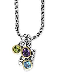 Effy Collection - Multi-gemstone Pendant Necklace (3-1/3 Ct. T.w.) In Sterling Silver And 18k Gold - Lyst