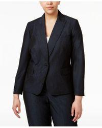 Anne Klein - Plus Size Denim Twill One-button Blazer - Lyst