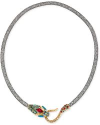 Betsey Johnson - Gold-tone Mesh Crystal Snake Collar Necklace - Lyst