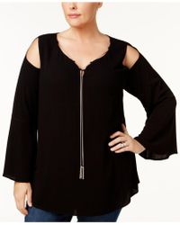 Love Scarlett - Plus Size Chain-neck Cold-shoulder Top - Lyst