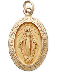 Macy's - 14k Gold Pendant, Oval Miraculous Medal Pendant - Lyst