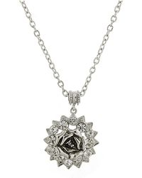 """2028 - Silver-tone Crystal Flower Pendant Necklace 16"""" Adjustable - Lyst"""