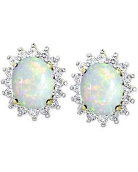 Macy's - Opal (1-3/8 Ct. T.w.) And White Topaz (9/10 Ct. T.w.) Stud Earrings In 18k Gold-plated Sterling Silver - Lyst