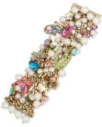 Betsey Johnson - Gold-tone Stone, Crystal & Imitation Pearl Floral Statement Bracelet - Lyst