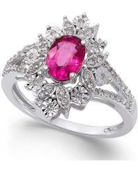 Macy's - Ruby (1 Ct. T.w.) And Diamond (1/5 Ct. T.w.) Split Shank Ring In 14k White Gold - Lyst